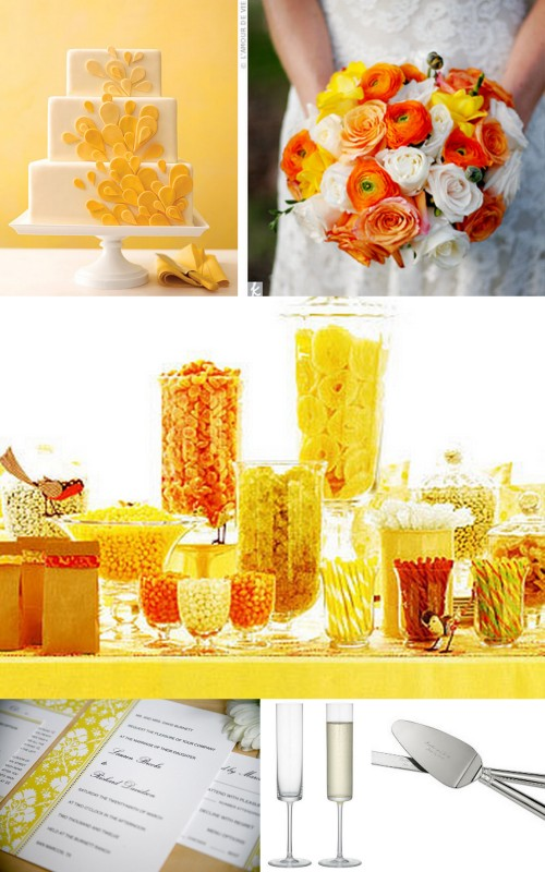 Yellow wedding invitation, yellow wedding cake, yellow and orange candy bar, yellow and orange bouquet, modern toasting flutes