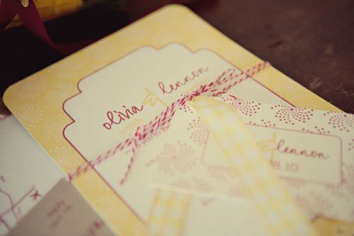 Designs In Paper, Wedding Invitaiton, Red, Yellow, White, Twine, Wedding 101