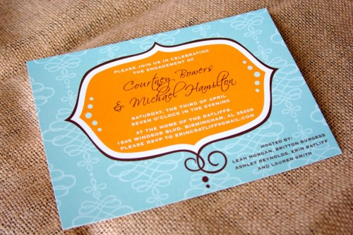Izzy and the Bean, Wedding Invitaiton, Orange, Blue, White, Brown, Wedding 101
