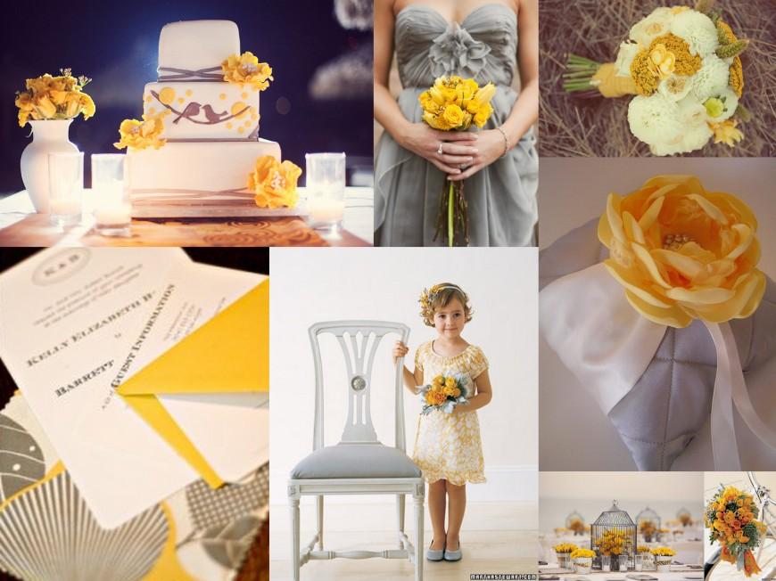 Yellow Gray Wedding, Cake, Dress, Bouquet, Ring Pillow, Flower Girl, Birdcage, Wedding 101