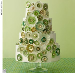 Green White Wedding Cake