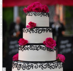 Pink Black White Wedding Cake