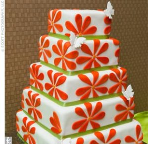 Orange Green Wedding Cake