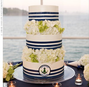 Blue White Navy Wedding Cake