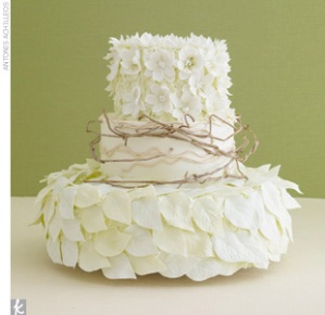 White Garden Wedding Cake