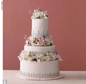 Pink Yellow Garden Wedding Cake