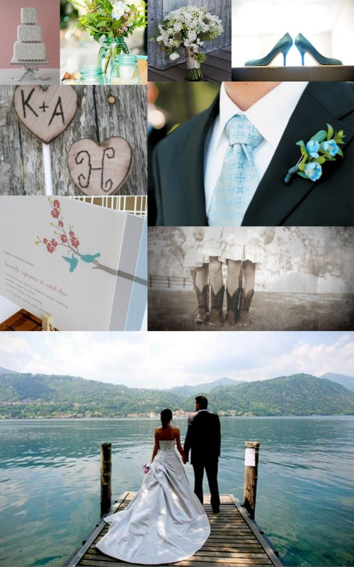 Wedding 101, Inspiration Board, Blue, Grey, Gray, Lake, Wedding cake, Shoes, Cowboy Boots
